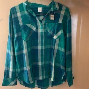 Long Sleeve Plaid Button up- Juniors XL